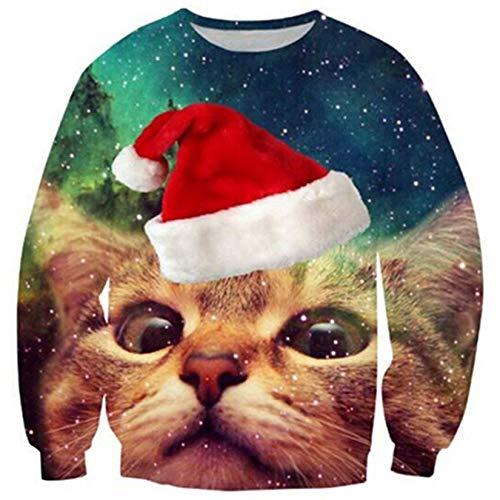 ALISISTER Hässliche Weihnachtspullover für Herren Neuheit Katze Muster Ugly Christmas Sweater Urlaub Festival Hip Hop Weihnachts Pullover Sweatshirt L