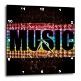 Cheap 3dRose dpp_158528_2 The Word Music Against a Lit Blue, Purple, Turquoise and Yellow Background with Musical Notes Wall Clock, 13 by 13-Inch