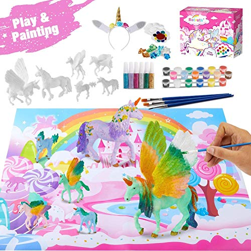 Retruth Kids Unicorn Painting Kits w/ Unicorn Hairband, Kids Painting Toys for Girls, Kids Unicorn Arts and Crafts with Glitter Pigment Painting Kits for Age 4 5 6 7 8, DIY Paint Your Own Unicorn