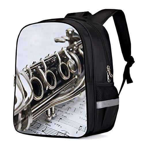 Backpack for Children/Boys/Girls Clarinet 3D Printing Shool Book Bag Daypacks Satchel Rucksack Hiking Travel Shoulders Bag Fits Laptop- Small