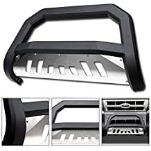VXMOTOR 2008-2012 Ford Escape ; 2008-2011 Mazda Tribute ; Mercury Mariner ; 2006-2010 Mountaineer Matte Black AVT Bold Bull Bar Brush Push Front Bumper Grill Grille Guard With SS Aluminum Skid Plate
