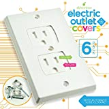 Child Safety Electrical Outlet Covers for Baby Proofing - Best Childproofing Self Closing BPA Free Wall Socket Plate, Better than Plugs (Set of 6, White)