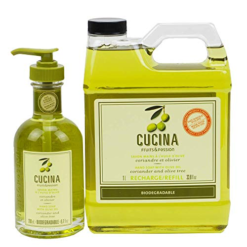 Cucina Hand Soap 200ml and 1 Liter Refill Set (Coriander and Olive Tree)