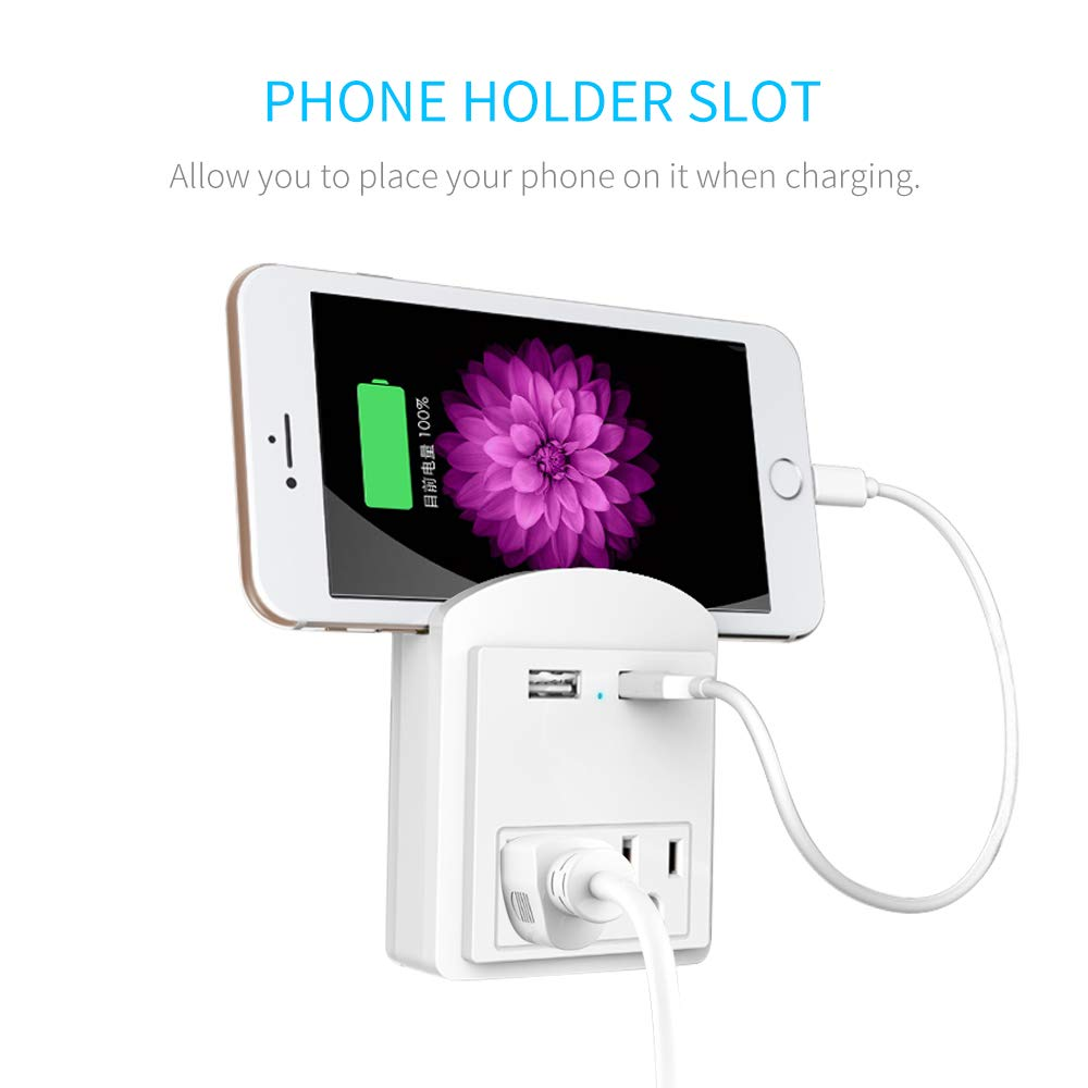 Multi Wall Outlet USB Wall Charger with Phone Holder Outlet Extender Surge Protector with Dual Outlets and Dual USB Ports (White)