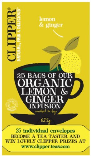 (Clipper Tea- Herbal Infusion - Organic Lemon & Ginger Enveloped Infusion - 25 Bags)