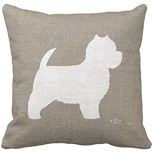 - Dweobolufz Throw Pillow Cover 18 x 18 Inch West Highland White Terrier Westie Silhouette Decorative Cushion Cover Case Pillow Custom Zippered Square Pillowcase