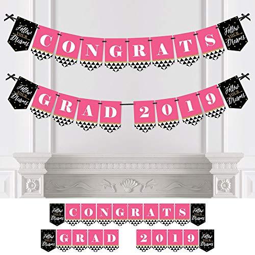 Dream Big - Graduation Party Bunting Banner - Pink Party Decorations - Congrats Grad 2019
