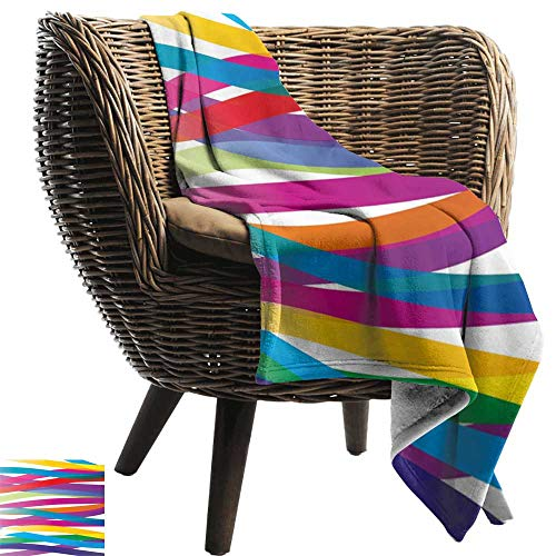 BelleAckerman Throw Blanket,Colorful,Multicolor Ribbon Design Abstract Design Vivid Rainbow Pattern Artistic Expression,Multicolor,300GSM,Super Soft and Warm,Durable Blanket 30