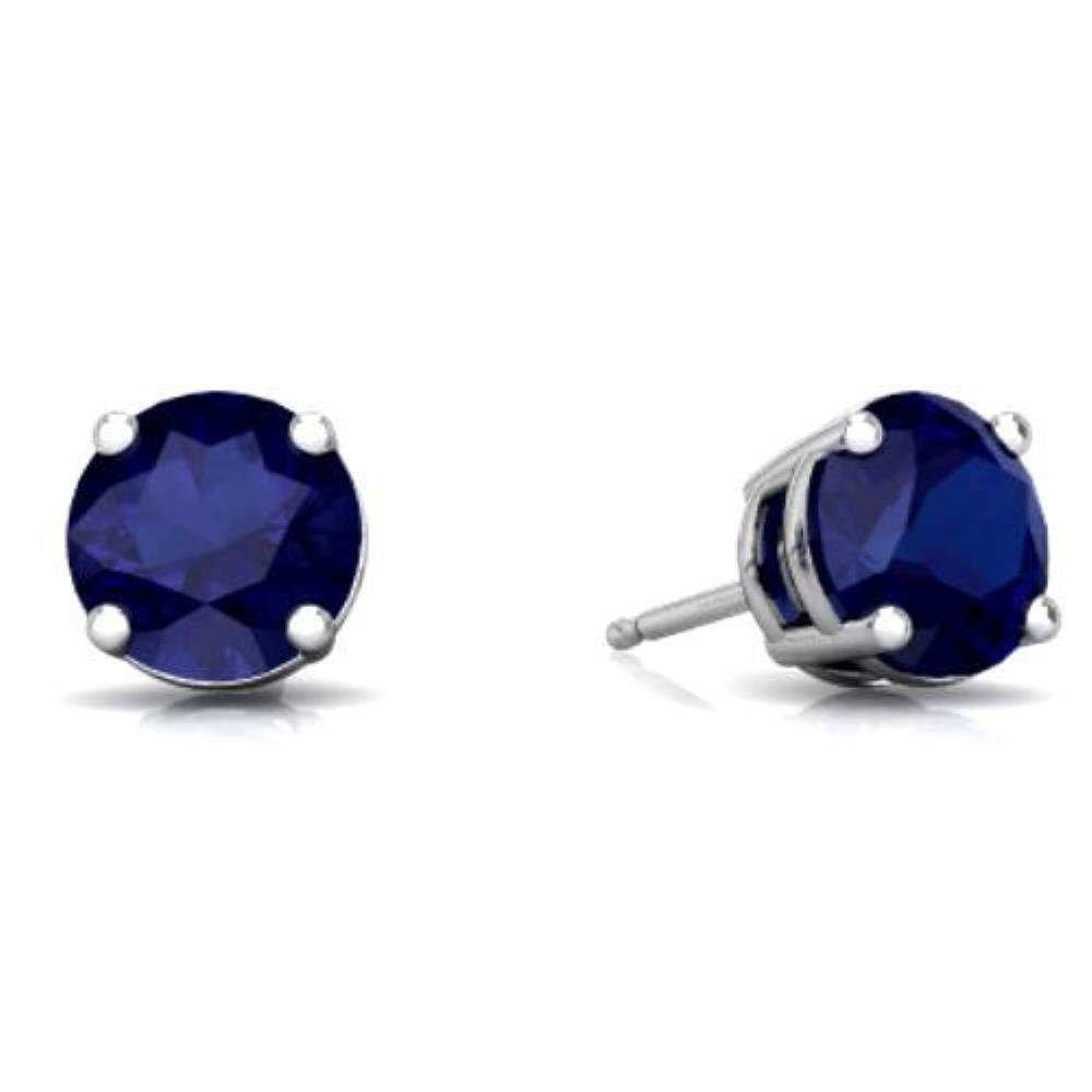 Created Blue Sapphire Round Stud Earrings .925 Sterling Silver Rhodium Finish