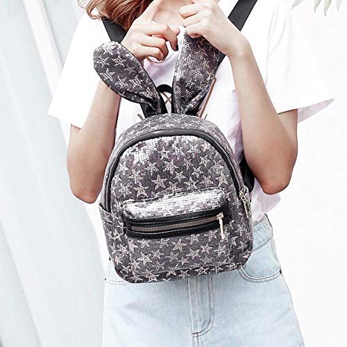 Backpacks Rabbit Sequins Girl Shoulder Mini Domybest Women Glitter Bags Ear Grey Grey AgqcfYWY1n