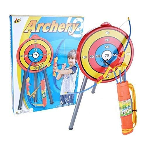 (NeatoTek Indoor and Outdoor Shooting Archery Toy Kids Bow and Arrow Shooting Set with Stand Target and Suction Arrows Kids Longshot Bow Toy Set Garden Fun Game Toy)