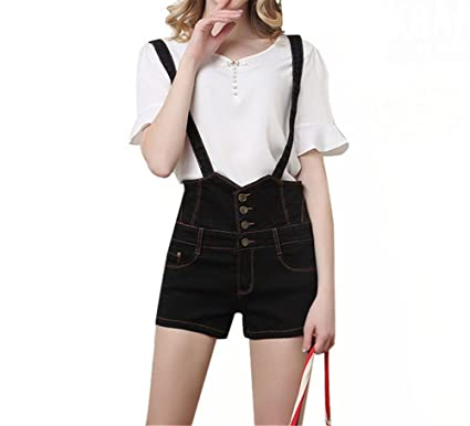 f6854681908c Drasawee Women s High Waist Sexy Denim Hot Pants Casual Party Summer  Stretchy Short Jumpsuit Black S