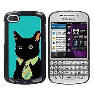 TECHCASE**Cubierta de la caja de protección la piel dura para el ** BlackBerry Q10 ** Black Cat Tie Art Style Red Eyes Neon Feline