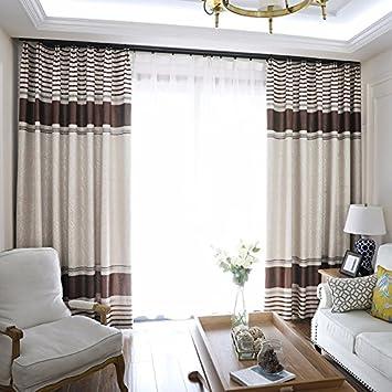 PEIWENIN Schlafzimmer Vorhänge modern fertig Wohnzimmer Vorhänge Küche  Fenster Vorhänge, Single, Breite: 250 cm * Höhe: 260 cm, braun