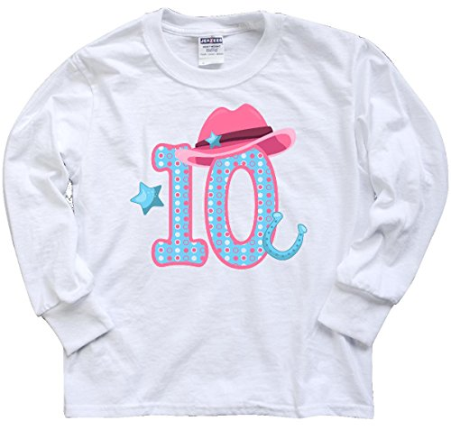inktastic Ten With Cowgirl Hat Youth Long Sleeve T-Shirt Youth Medium White