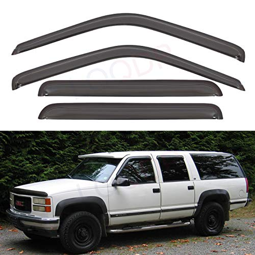 LQQDP Set of 4 Front+Rear Smoke Sun/Rain Guard Outside Mount Tape-On Acrylic Window Visors For 92-00 Chevy/GMC C/K Crew Cab 92-99 Suburban 95-99 Tahoe/Yukon 4-Door 00 5.7L V8 99-00 Cadillac - Window K1500 Suburban
