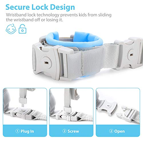 """51pn%2BJvCiCL [Upgrade] Anti Lost Wrist Link, Dr. Meter 2 in 1 Toddlers Safety Wristband Leash with Key & Lock, Kids Anti Lost Walking Harness Rope for Babies, Dual Length 6.56ft    Kribee & Refosian Refugee Child Safety Wrist Harness Is The Ultimate Peace - Of Mind Product For Parents And Guardians Of Small Children. It Remarkably Prevents Tots From Running Away And Getting Lost. Fosters Confidence And Independence In Your Little Ones By Letting Them Explore """"just A Little Further"""" While Keeping Them Safely Close To Your Side."""