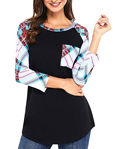 Miskely Women's 3/4 Sleeve Striped Tunic