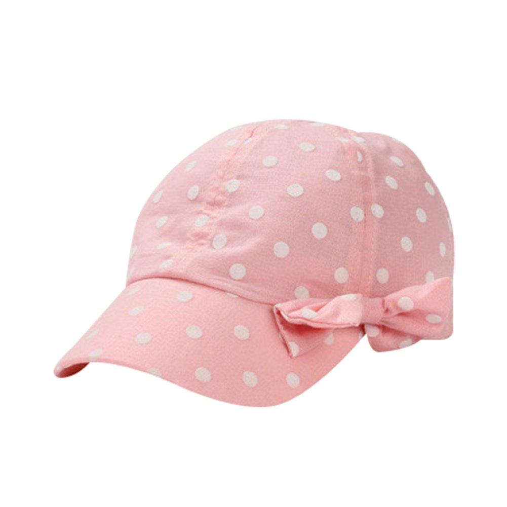 Toddler Sun Hat Girls Summer Hat Cap UV Protection Dot&Bowknot Beach Hat Baseball Caps UPF 50+ (S, Pink)