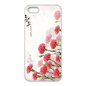 Flowers Pattern White Phone Case for iPhone 5S Case