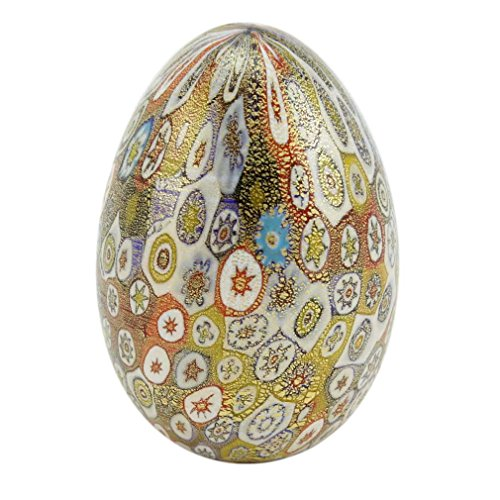 GlassOfVenice Murano Glass Golden Quilt Millefiori Egg - Multicolor ()