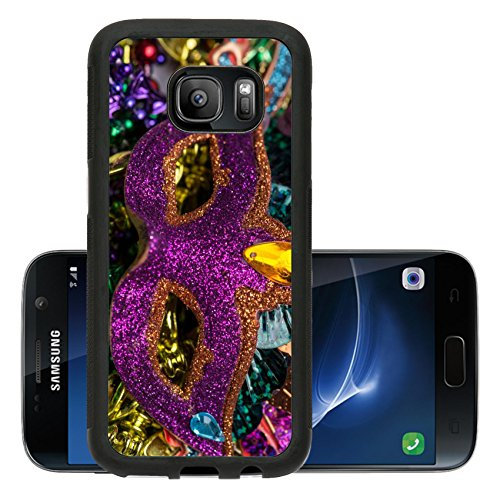 Luxlady Premium Samsung Galaxy S7 Aluminum Backplate Bumper Snap Case IMAGE ID 26111610 Close up view of purple sequined Mardi Gras mask with colorful beads out focus in the (Carnavale Costumes)