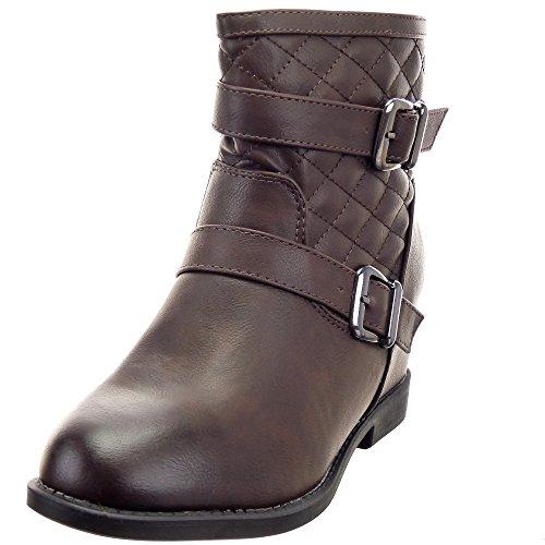 Sopily - damen Mode Schuhe Stiefeletten Reitstiefel - Kavalier Biker gesteppt schuhe Schleife Schuhabsatz Keilabsatz - Braun