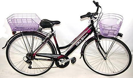 OFERTA REGALO - Bicicleta Violeta COMPLETO de mujer City-Bike 6V SHIMANO + Bolsa e Cesta / CALIDAD ITALIANA - Cesta Anterior Cesta Puesto, 28