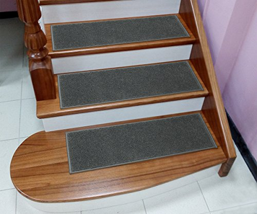 """Sweethome Stores Non-Slip Shag Carpet Stair Treads, (9""""X26"""")-5 Pack- Grey Solid"""