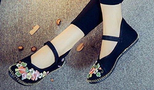 Avacostume Femmes Casual Broderie Florale À La Main Douce Chaussures De Marche Noir