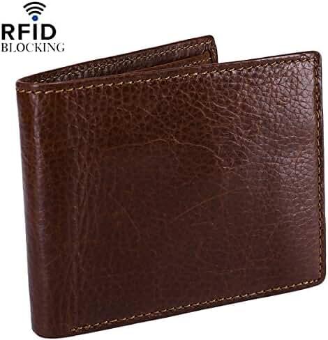 Reeple Men's RFID Blocking Stylish Genuine Leather Wallet Travel Pocket Bifold with ID Window