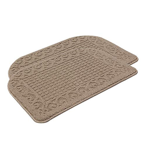 Anti Fatigue Kitchen Rug Mats are Made of 100% Polypropylene Half Round Rug Cushion Specialized in Anti Slippery and Machine Washable,2 Pieces