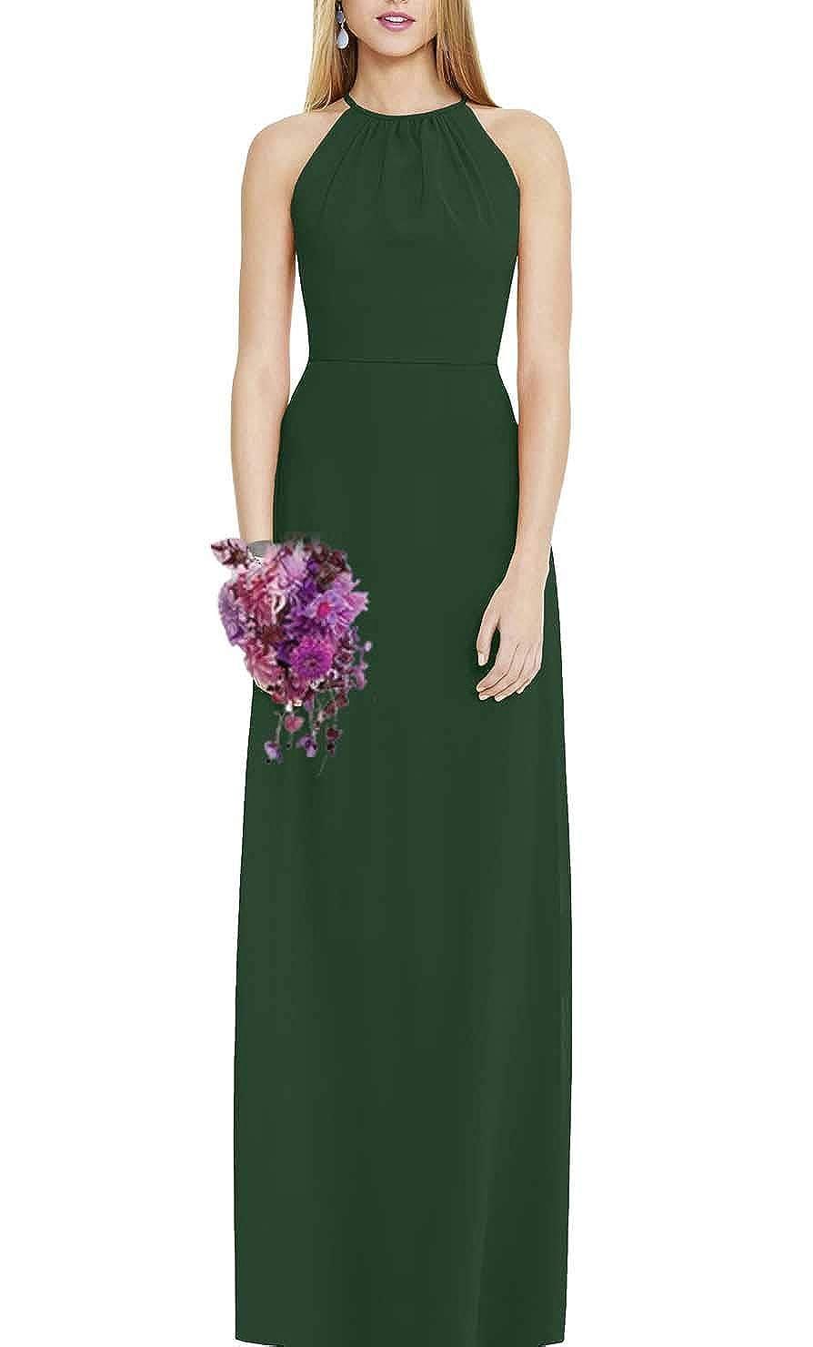 Hunter Green FeiYueXinXing Women's Halter Neck ALine Prom Ball Gowns Long Evening Bridesmaid Guest Dresses