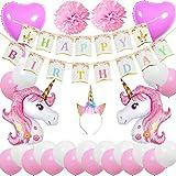 ZSNICE Unicorn Birthday Party Decorations Supplies Favors Pack, Unicorn Horn Headband, Happy Birthday Banner, 2 Huge Unicorn Balloons, 2 Pom Pom Flowers and 2 Heart Foil Balloons, 20 Latex Balloons, Gift for Girls Women Kids