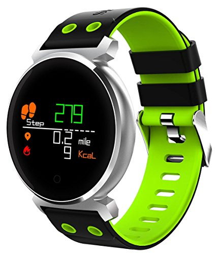 Waterproof Fitness Tracker - Hathcack Ai03 Super Long Standby Activity Monitor and Sleeping Management Heart Rate Monitor Pedometer SMS Calls Reminder Bluetooth Smart Wristband for IOS/Android - green (Silicone Usb Bracelet)