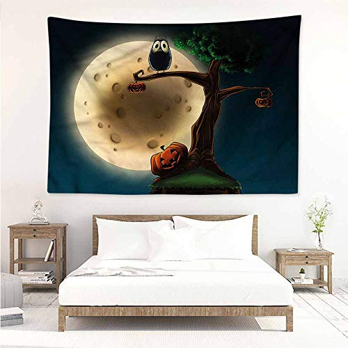 DIY Tapestry,Halloween Spooky Tree with an Owl,Wall Hanging Carpet Throw,W90x59L]()