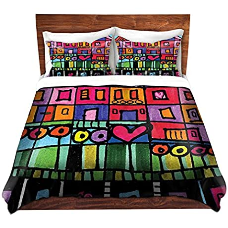DiaNoche Designs Dora Ficher Unique Home Decor Bedding Ideas Happy Town Cover 8 King Duvet Sham Set