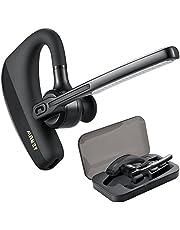 Bluetooth Headset, Handsfree Wireless Earpiece Bluetooth 4.1 Headsets Earphone for Business Trucker, Bluetooth Headphones Compatible for iPhone Android Cellphone (Black-K10)