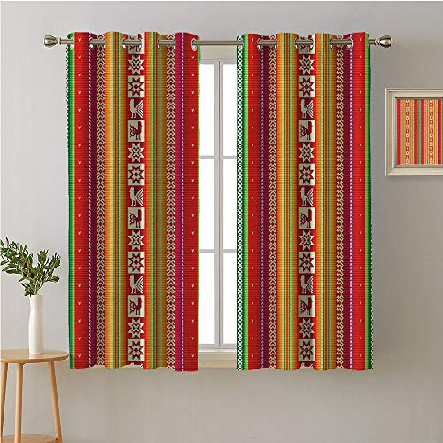 Jinguizi Native American Fabric The Yard Grommet Privacy Assured Window Treatment,South American Colorful Pattern Birds Bolivian Traditional Borders,Night Darkening Curtains,63W x 45L - Waterfall Traditional