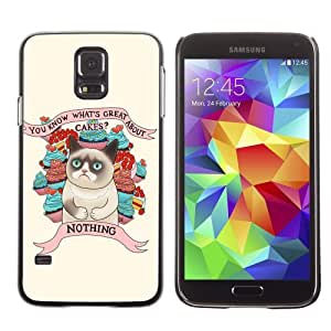 Licase Hard Protective Case Skin Cover for Samsung Galaxy S5 - Funny Grumpy Cat Art by icecream design