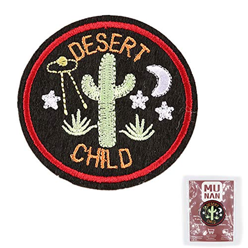 MUNAN Cactus Patch sew on Patches Desert Child Patches Iron On Sewing Embroidered Patches Badge Applique for Clothes Jacket Jeans Cap