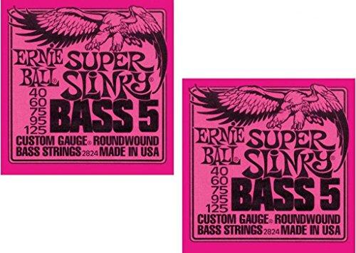 (Ernie Ball P02824 ^2 Super Slinky 5 Bass Strings, 2 Pack )