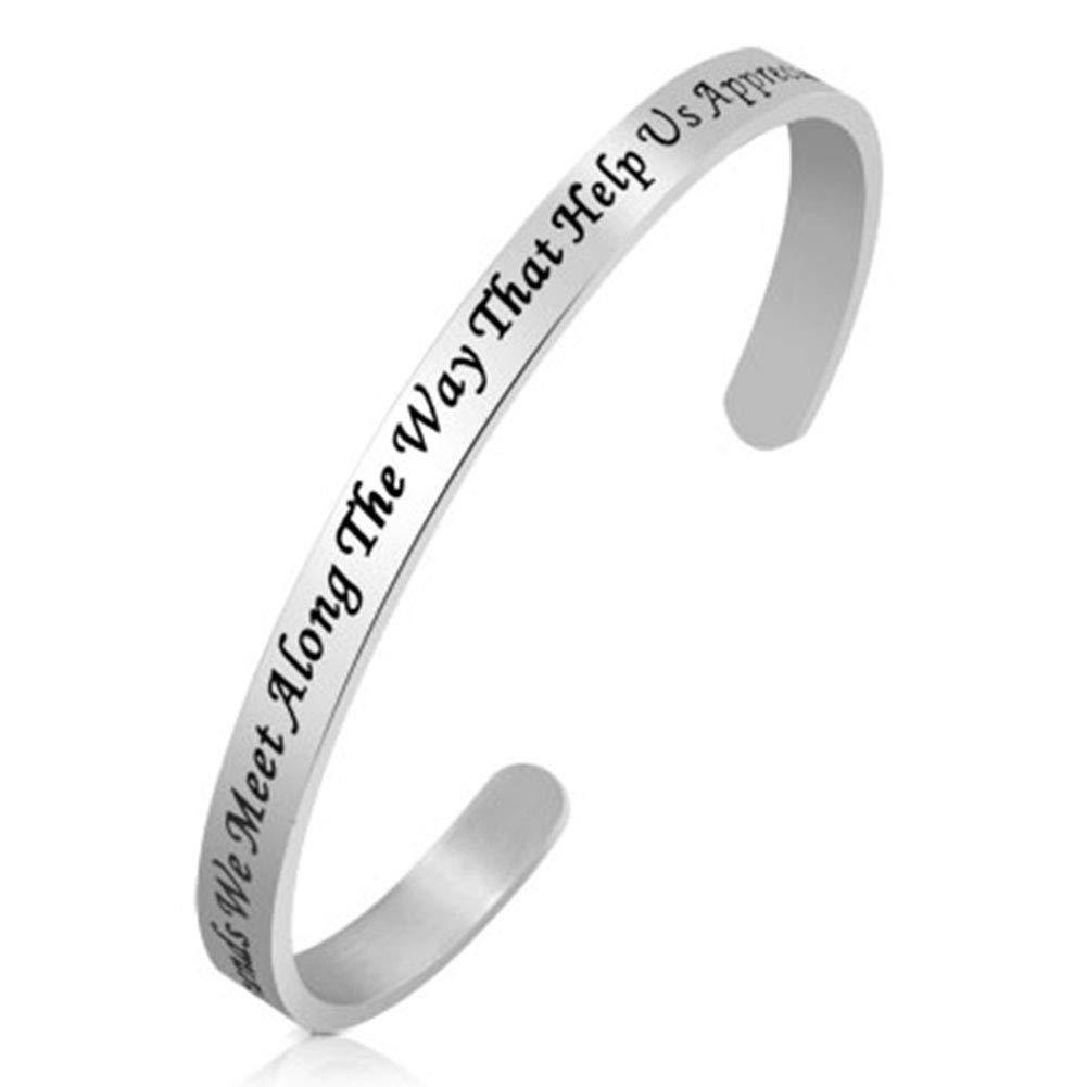 Jesse Ortega Adjustable Cuff Bangle Bracelet Engraved Inspirational Letter Stainless Steel Jewelry