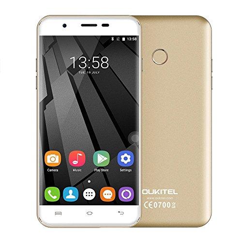 Unlocked Cell Phones, Oukitel U7 Plus Unlocked Smartphone 5.5 Inch Dual SIM Android 6.0 Quad Core 2GB RAM 16GB ROM Mobile Phone 2500mAh-Champagne Gold