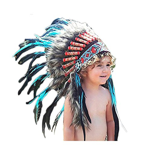 N12- From 2-5 years Kid/Child's:Turquoise Feather Headdress 20,8 inch. - 53 cm -