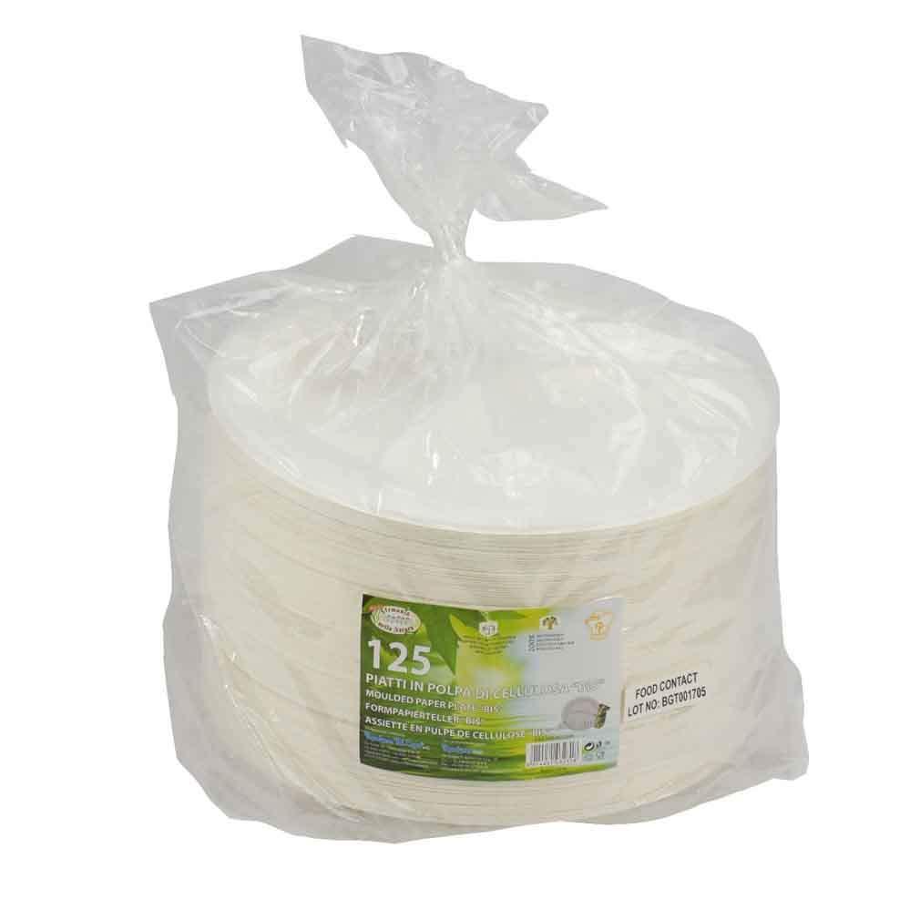 Piatti monouso bio /Ø 23 cm Piatti polpa cellulosa 125 Piatti Rotondi Biscomparto in Polpa Di Cellulosa 125pz Piatti Biodegradabili Compostabili