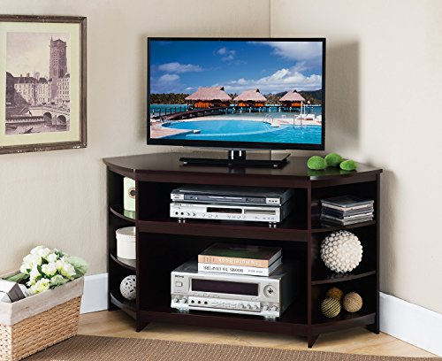Kings Brand Furniture Cherry Finish Wood Corner TV Stand Entertainment Center With Shelves