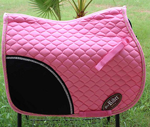 horse-quilted-english-saddle-pad-tack-trail-riding-pink-72f04