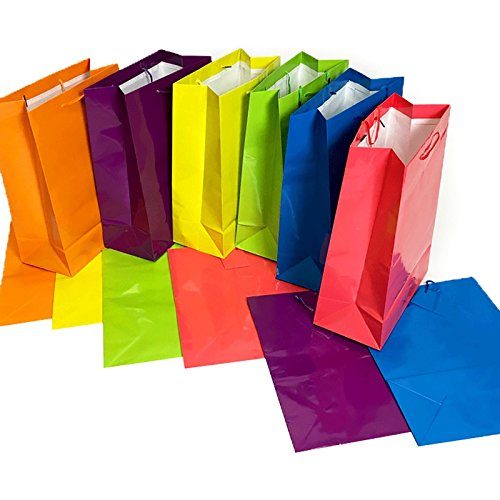 Tytroy Medium Bright Neon Colored Glossy Finish Paper Gift Bags with Handles All Occasion Present Bags (12 Pack) ()