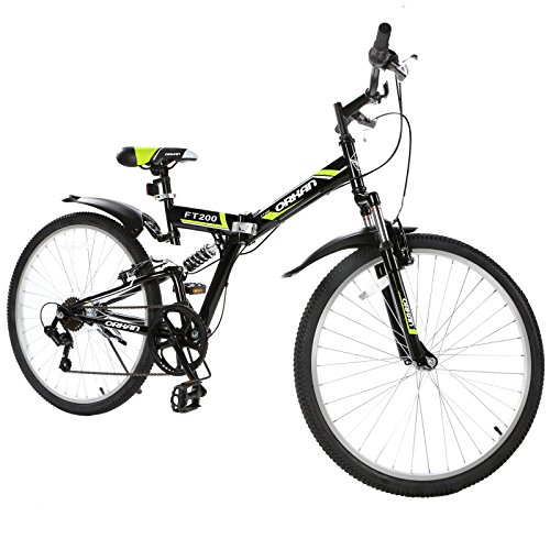 GTM 26' Folding Bike 7 Speed Shimano Hybrid Suspension BIke,Green
